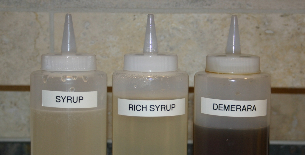 Simple Syrup, Rich Syrup and Demerara Syrup