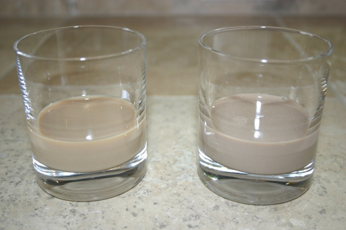 Left: Baileys, Right: Homemade Irish Cream